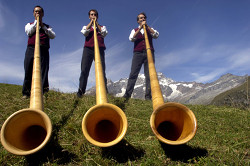 Men with musical instruments outside