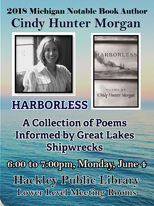 2018 Michigan Notable Book Author Cindy Hunter Morgan Flyer, for her book Harborless
