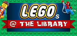Legos at the Library, with Lego characters i nthe background.