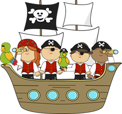 Cartoon children dressed as pirates on a pirate ship with a parrot.