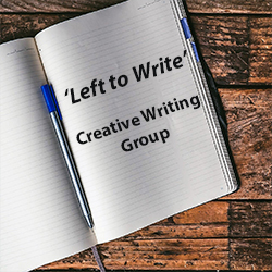 Notebook with pen; words written are Left to Write, Creative Writing Group